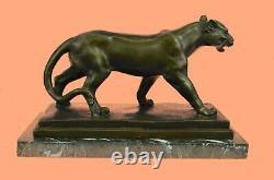 Art Déco Brown Bronze Cheetah Statue Big Cat Leopard Feline Panther Lion Jaguar