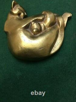 Art Deco Cat, Bronze Signe Statue Iris Cooke Rare 1,3 KG