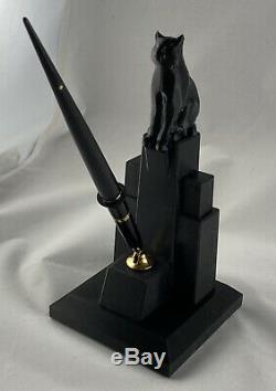 Art Déco Cat Set De Bureau Avec Sheaffer Fountain Pen