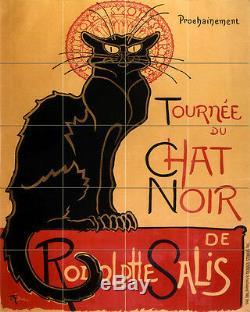 Art Deco Cat Vintage Chat Noir Céramique Mural Dosseret Tuile De Bain # 2291