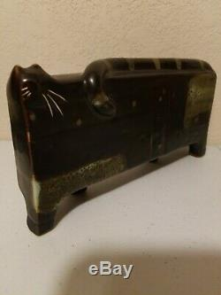 Art Déco Céramique Cat Figurine Vintage Cubiste Milieu Du Siècle Moderne Rectang Style