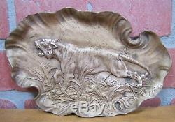 Art Déco Chasse Prowling Tiger Big Cat Brass Plateau J Fischer General Bronze Corp