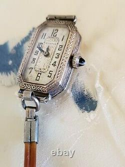 Art Déco Des Années 1920 Antique Vtg Ladies Bulova Cats Eye Sapphire Crown Montre 4u2fix