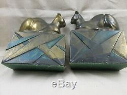 Art Déco Géométriques De Base Sphinx Regarder Chats Pompéien Bronze Bookends