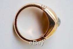 Art Déco Immobilier Chats-eye Chrysoberyl Et Diamant 14k 1930 Bague En Or Jaune Circa