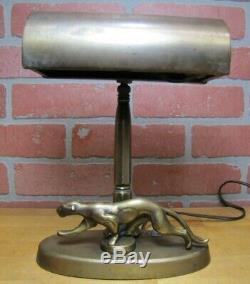 Art Déco Leopard Lampe De Bureau Étudiant Lumière Figural Big Cat Brass Wash Prowling