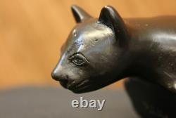 Art Déco Lion Statue Bronze Signé Figure Cubiste Wild Cat Hot Cast Sculpture Nr
