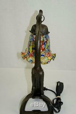 Art Déco Métal Sculpture Wild Cat Bureau Lampe De Table Bronze Terminer