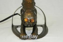 Art Déco Métal Wild Cat Sculpture De Bureau Lampe De Table Bronze Terminer