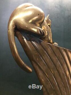 Art Déco Moderniste Dolbi Caissier Grand Vase En Laiton Panther Cat 20 Grand