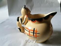 Art Déco Myott Cat & Mouse Globe Jug Cat Handle Very Rare