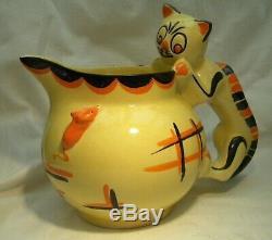 Art Déco Myott Cat & Mouse Globe Jug Cat Poignée Très Rare