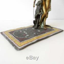 Art Déco Nu Lady Cheetah Cat Carpet Bergman Autrichienne Bronze