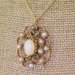 Art Deco Opal, Gris Perle & Cat's Eye Pendentif Or Jaune 18 Carats C 1930