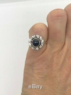 Art Déco Or Rose Sapphire Cat Eye Diamant Halo Anneau Unique Très