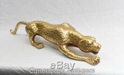 Art Déco Ormolu Panther Statue Cat Avec Leopard