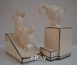 Art Déco Porcelaine Art Nouveau Style De Faune Chat Chien Figurine Bookends