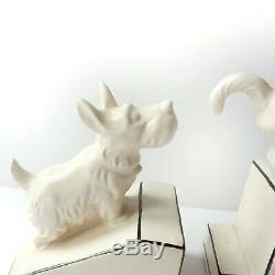 Art Déco Porcelaine Céramique Chat & Chien Book Ends