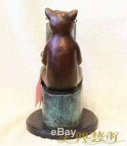 Art Déco Sculpture Cat Père Et Fils Lire Livre Bronze Statue Figurine