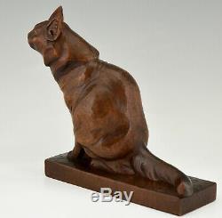 Art Déco Sculpture En Bois D'une Main De Chat Sculpté Par Irénée Rochard France 1930