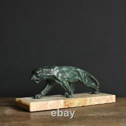 Art Déco Spelter Big Cat Panther Sculpture Sur Base En Marbre De Antique1930