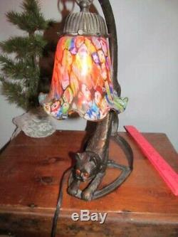Art Déco Stretching Cat Lampe De Table Millefiori Ombre Très Mignon Lampe De Chat