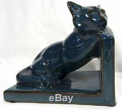 Art Deco Studio Poterie Cat Bookends Aqua Glaze Allemagne De L'ouest 15,5 X 14 X 10 CM