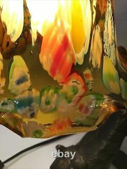 Art Déco Style Stretching Chat Noir Avec Les Yeux Oranges Lampe En Verre Floral Shade