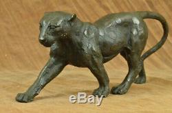 Art Déco Vintage Bronze Sculptures Cat Sur Plinth Après Rembrandt Bugatti Figure