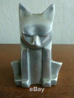 Art Déco Vintage Cubiste Aluminium Cat Sculpture Sgn Chris Petersen 1976 Brutaliste