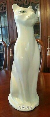 Art Déco Vintage En Céramique Cat Statue 16 Tall C. 1950