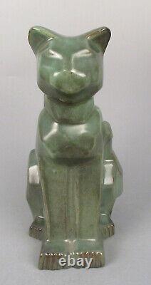 Art Moderniste Deco Shearwater Potterie Sculpture Cubiste Cat Figurine En Céramique