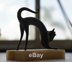Art Rare Vintage Spooky Métal Cat Deco Avec Socle En Marbre Statue Figurine Cool