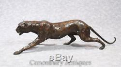 Art Statue Deco Bronze Cat Cheetah Avec Panther