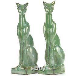 Arts Et Artisanat / Déco Fulper Poterie Vert Crystalline 9 1/2 Cat Bookends C1939