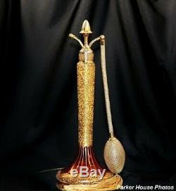 Atomiseur Vintage Devilbiss Perfume Cat # Q-4 À La Canneberge, Lustre Et Or 1925