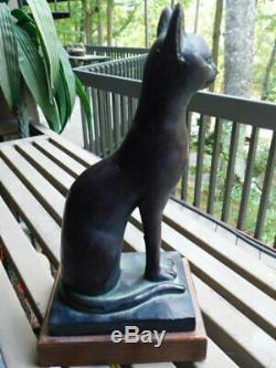 Austin Productions Co 1965 Cat Statue Égyptienne Sculpture Heavy Verdis Bronze Exc