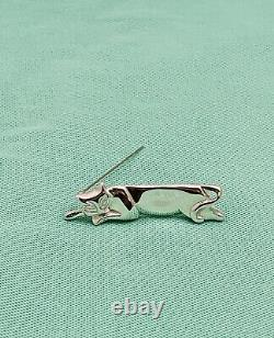 Authentique Tiffany & Co Art Déco Sterling Silver Cat Broche
