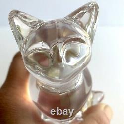 Baccarat Cristal Clair Verre Crochu Cat Figurine Paperweight Signé Sticker