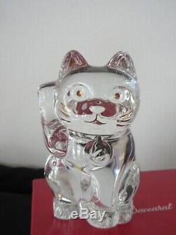 Baccarat Crystal Clear Lucky Cat Chat 2607786 Avec Perfect Orig List Box 390 $