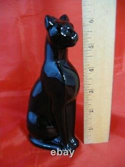 Baccarat Français Figurine De Chat Noir De Cristal, Papier En Verre Art Déco Égyptien