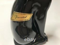 Baccarat France Cristal Signé Noir Chat Figurine Égyptienne Poids Du Papier 6