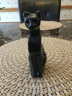 Baccarat French Crystal Black Cat Figurine, Egyptian Art Deco Glass Paperweight