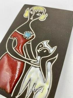 Belle Plaque Murale De Ravelli De Jaap Avec La Femme Et Le Chat Des Années 60