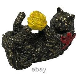 Belle Sculpture Miniature De Chat En Bronze Peinte À Froid Du 20ème Siècle