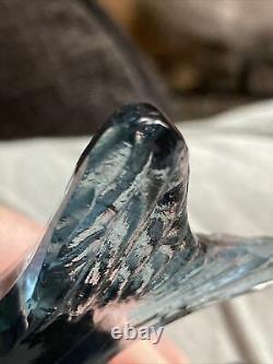 Bermondsey Blue Glass Fish Art Deco Waves Signé Guy Underwood 1933 Paperweight