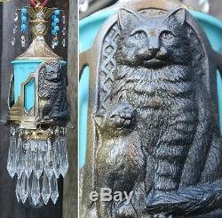 Black Cat Swag Lampe Lustre Laiton En Laiton Verre Perlé Cristal Art Déco Insp.