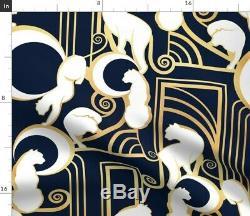 Bleu Marine Or Chats D'ornement Geometrics 50 Panneau Large Rideau Par Roostery
