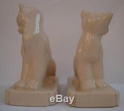 Bookends Faune Cat Art Déco Art Nouveau Style Porcelaine Craquelé Fig