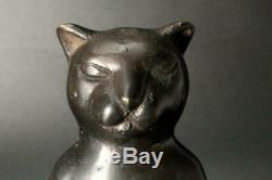 Bos124 Japonais Ancien Bronze Chat Ornement Okimono #art Deco